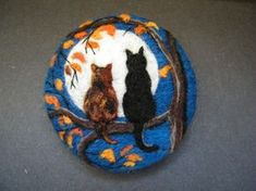 Handmade needle felted brooch/Gift 'Friends in the Moonlight ' by Tracey Dunn in Crafts, Hand-Crafted Items Felted Soap, Needle Felted Cat, Felt Pictures, Felted Wool Crafts, Embroidered Gifts, Textile Fiber Art, Felt Decorations, Felt Cat, Felting Tutorials
