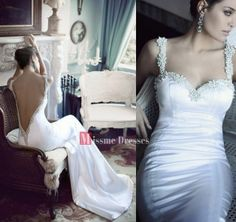 2014 New Mermaid White Ivory Bridal Dresses Backless Long Satin Wedding Gowns