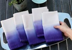 Ombre Napkins how-to video. This could be pretty in really pale colors
