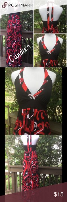 Candie's Beautiful Maxi Halter Dress ! ❤️ ❤️ Candie's Maxi dress ! Length laying flat is 60 inches ! Wash cold line dry ! 95% polyester 5% spandex ! Padded bra ! Elastic in back ! Straps are each 26 inches in length ! Stretchy fabric hard to wrinkle ! Black, red and white ! Beautiful dress ! ❤️ Candie's Dresses Maxi