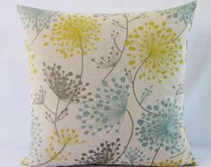 This beautiful, floral print throw pillow in teal seafoam blue, gray, golden yellow and oatmeal taupe has a classy, linen appearance. This listing is for one throw pillow cover. Teal Cushions, Yellow Throw Pillows, Floral Pillows, Decorative Cushions, Decorative Pillow Covers, Throw Pillow Covers, Handmade Pillow Covers, Cover Gray, Pillow Forms