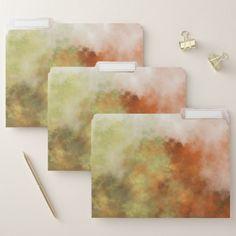 Orange Yellow & Gray Mist-Like Pattern File Folder - custom gift ideas diy