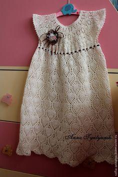 Купить Молочный ажур - бежевый, однотонный, платье летнее, платье для девочки, платье из хлопка