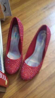 d1a74a6435d8fd My friend Joyce s Ruby Red Slippers! I love Dorothy shoes!  D need to find  some in lower heels or flats for myself