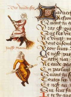Flight of the Witches 'Vaudoises' on the broom,  miniature in a manuscript by Martin Le France (1410-1461),  Le Champion des Dames, 1451
