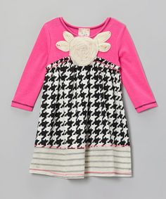 Take a look at this Black & Ivory Houndstooth Flower Dress - Girls by Pink Vanilla on #zulily today!