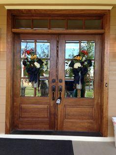 rectangular glass front door