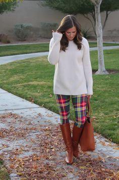 plaid leggings + oversized ivory sweater + boots