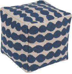 Sturdy and durable wool and cotton jute square ottoman in modern dotted cobalt blue pattern on off white. So functional, we love this comfortable blue ottoman pouf as extra seating or soft footstool.