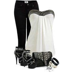 Rocker girl night out outfit style rocker fashion chic studs