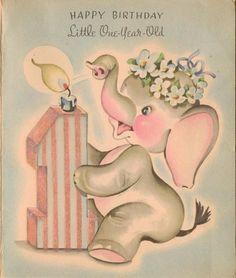 Elephant Baby Elephants Happy Birthday 1 Year Old Greeting Card Vintage Happy Birthday 1 Year, Happy Birthday Vintage, Vintage Birthday Cards, Father's Day Greeting Cards, Vintage Greeting Cards, Birthday Greeting Cards, Birthday Greetings, Best Wishes Card, Elephant Birthday