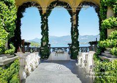 Wedding ceremony At Villa Balbianello, Loggia Durini (Arched Loggia). Picture by Steve Tarling ©