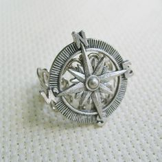 THE ORIGINAL Adventurer Steampunk Compass Ring in Silver. $19.00, via Etsy.