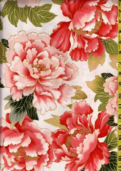 Japanese Asian Sewing Quilting Fabric - Tadashi Large Scale Pink & Coral Peonies - Ivory - Stunning! by Shiboridragon on Etsy https://www.etsy.com/listing/210270118/japanese-asian-sewing-quilting-fabric
