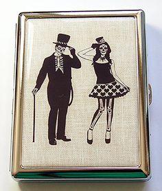 Metal cigarette case Sugar Skull Skeleton Couple by KellysMagnets
