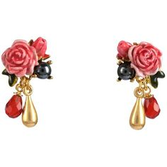 Les Néréides WILD ROSES EARRINGS ($115) ❤ liked on Polyvore featuring jewelry, earrings, chain earrings, chains jewelry, les nereides earrings, les nereides jewellery and earring jewelry