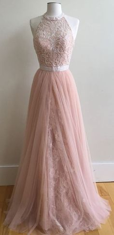 Lace Prom Dresses,Tulle Prom Dress,Pink Evening Gown Ball Gown Prom Dress