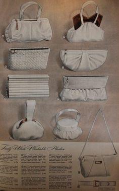 1940s platsic handbags and vanity purses. 1947 white plastic purses