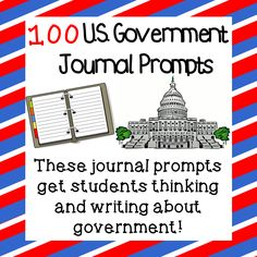 Government Journal Prompts This product includes 100 journal prompts on the U.This product includes 100 journal prompts on the U. 7th Grade Social Studies, Social Studies Lesson Plans, Social Studies Classroom, Social Studies Resources, History Classroom, Teaching Social Studies, Teaching History, History Education, Teaching Government