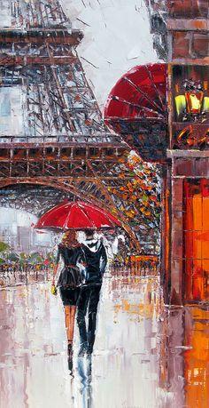Artist by Roman Czerwinski Paris Painting, City Painting, Oil Painting Abstract, Oil Pastel Paintings, Abstract City, Umbrella Art, Paris Art, City Art, Art Oil