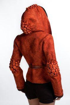 Felted orange jacket with shibori elements by Diana Nagorna