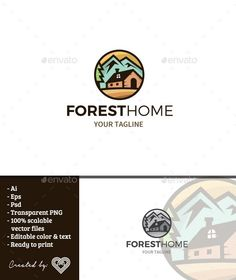 Buy Forest Home by andiasmara on GraphicRiver. Forest Home is a sleek logo template with the themes of a home in the forest inside a circle. Real Estate Logo Design, Best Logo Design, Art Design, Icon Design, Graphic Design, Interior Design, Business Brochure, Business Card Logo, Logo Design Template