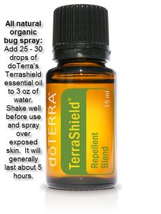 All natural bug spray with DoTerra's Terrashield Essential Oil order at http://mydoterra.com/robingtrimble