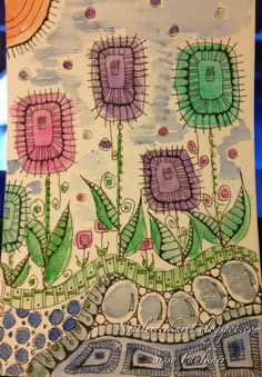 Zentangle colorful flower garden
