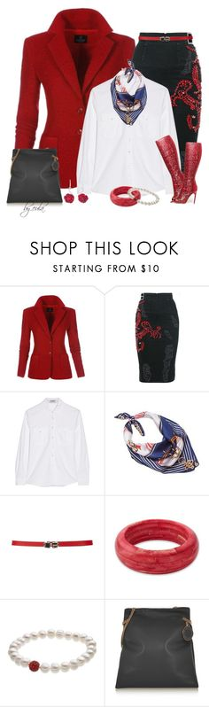 """Denim Skirt & Blazer (Outfit Only)"" by eula-eldridge-tolliver ❤ liked on Polyvore featuring MARCOBOLOGNA, Frame, RGLT Scarves, Carven, NOVICA, Honora and STELLA McCARTNEY"