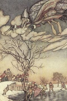 """Jack Frost"" illustration by Arthur Rackham, Arthur Rackham, Classic Fairy Tales, Children's Book Illustration, Book Illustrations, Jack Frost, Folklore, Illustrators, Fantasy Art, Art Prints"