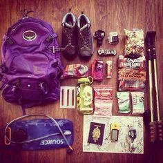 "Aubrey on Instagram: ""Gearing up for an adventure! #allyouneedisfood #outdoorgear #hiking #ospreypacks #adventurecouple #garmin #summervacay #outdoorlife #meclife #outdoorwomen #clifbar #skull #hikinggear"" Go Hiking, Hiking Gear, Hiking Backpack, Camping Gear, Outdoor Camping, Camping Hacks, Canvas Book Bag, Ultralight Backpacking Gear, Osprey Packs"