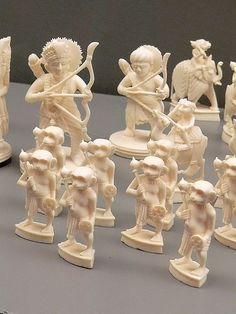 The Story of the Ramayana Chess Set Ivory India 1930