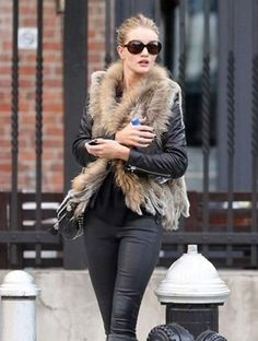 Spring Knitted Rabbit Fur Vest Gilet with Raccoon Fur Collar Lady Free Shipping | eBay