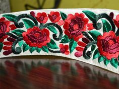 Embroidered Trims / Sari border/ in red and green color- Floral Pattern