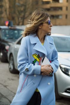 Street Style | Sky Blue Coat with Colorful Details