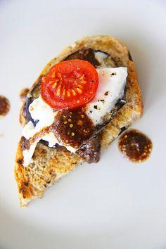 Burrata and Eggplant Crostini-- get rid of the eggplant and it's the sh!t.