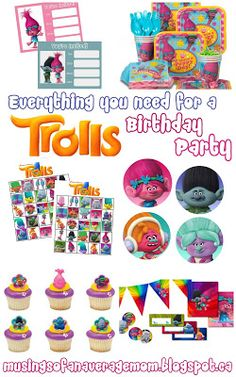 Musings of an Average Mom: Everything You Need for a Trolls Party Trolls Party, Trolls Birthday Party, 6th Birthday Parties, Birthday Fun, Birthday Ideas, Party Time, Party Ideas, Threenager, Birthdays