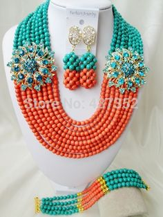Online Shopping at a cheapest price for Automotive, Phones & Accessories, Computers & Electronics, Fashion, Beauty & Health, Home & Garden, Toys & Sports, Weddings & Events and more; just about anything else Orange And Turquoise, Teal Green, Turquoise Beads, Green And Orange, China Jewelry, Hair Jewelry, Jewelry Sets, Diy Store, African Beads
