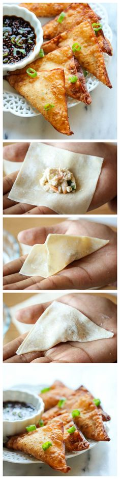 I love me some crab Rangoon! Crab Rangoon - This crisp, fried wonton is loaded with cream cheese and crab goodness, and it's an absolute party favorite! I Love Food, Good Food, Yummy Food, Tasty, Finger Food Appetizers, Appetizer Recipes, Snacks Recipes, Seafood Recipes, Cooking Recipes