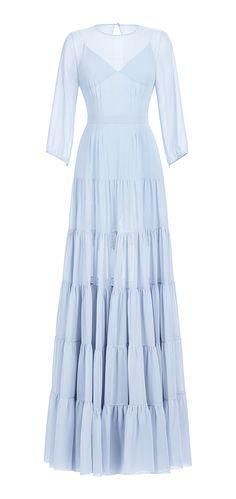 Платье с пышной юбкойярусами в пол из шифона, пышный рукав, шифон голубой. Нижняя сорочка - атлас голубой, кружево черное. Пуговицы - лунный камень