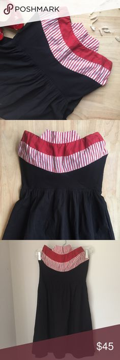 ANTHROPOLOGIE 💄 pretty dress Judith March Judith March dress by Anthropologie . Beautiful black strapless dress knee length fit and flare featuring a really interesting neckline with red and white accents . Very cute sundress with a vintage 50's pinup feel. This dress is like new condition in excellent shape. Size is medium but fits more like a small . Torso has internal boning on the sides. Anthropologie Dresses Strapless