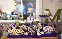 Hostess with the Mostess® - Tangled Inspired Birthday Party: The Dessert Table Tangled Birthday Party, Birthday Party Desserts, 25th Birthday, Birthday Parties, Birthday Ideas, Tangled Princess, Disney Princess Party, Princess Birthday, Dessert Table Birthday