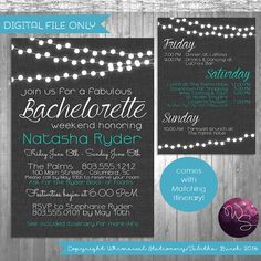 "Bachelorette Party Weekend Invitation & Itinerary ""Fabric Lights"" Collection (Printable File Only) String Fairy Lights Hen Party"