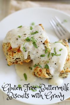 Gluten Free Sage, Gruyere and Sausage Buttermilk Biscuits with Gravy | girlversusdough.com @stephmwise