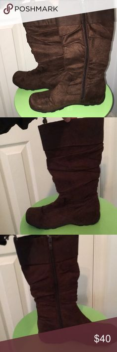 Top Moda side zip suede boots with folded cuff. NWOT supe comfy and soft Top Moda side zip suede boots with folded cuff. Top Moda Shoes Winter & Rain Boots