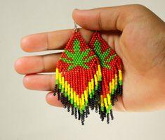 Cannabis Seed Beaded Earrings Bob Marley Weed by NativeStyles