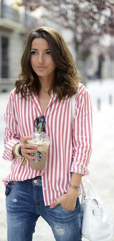 Lovely pepa style: Stripes shirt and boyfriend jeans