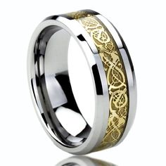Amazon.com: 8MM Titanium Comfort Fit Wedding Band Ring Gold Inlay Celtic Dragon Flat Ring ( Size 8 to 14): Jewelry