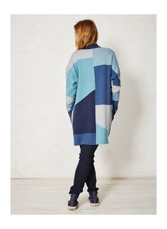 Lilas Patchwork Cardigan by Braintree Organic Supplies, Colour Blocking Fashion, Cotton Cardigan, Sustainable Fashion, Organic Cotton, High Neck Dress, Wool, Knitting, Sweaters