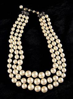 Marvella White Beaded Three Strand Necklace Satin Finish $30 on Etsy